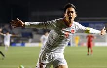 Đội trưởng Đỗ Hùng Dũng ăn mừng ấn tượng khi ghi bàn vào lưới Indonesia