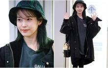 """Góc cute lạc lối: IU mặt ít son phấn, diện áo nam rộng thùng thình ra sân bay vẫn khiến các fan """"lụi tim"""""""