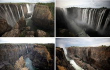 Sốc nặng khi Victoria - thác nước lớn nhất thế giới cạn khô vì hạn hán