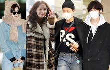 """Hiếm lắm mới có dàn sao hot thế này ra sân bay: Yoona để tóc mới lạ, Jennie """"hóa gấu"""" siêu cưng, BTS như đi catwalk"""