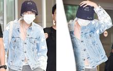 """Thành viên giàu nhất BTS chưa bao giờ hở đến thế: """"Đốt mắt"""" fan với chiếc áo cài cúc dở, lộ cả nội y tại sân bay"""
