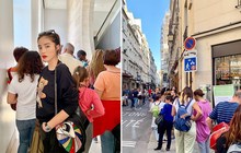 """Choáng: Kỳ Duyên và Minh Triệu """"lả cả người"""" vì phải xếp hàng 3 tiếng mới được vào bảo tàng ở Paris, tình trạng quá tải du lịch đáng báo động!"""