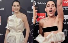 Sự cố váy áo gây đỏ mặt nhất đầu năm 2020: Nữ diễn viên lộ nguyên tòa thiên nhiên trong niềm vui chiến thắng