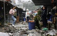 Ảnh: Chợ hoa Quảng An ngập trong rác, nhiều người vẫn tranh thủ đội mưa đi mua hoa Tết