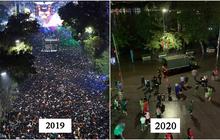 Giao thừa 2019 và 2020: Cùng là phố đi bộ Hồ Gươm, sao năm ngoái đông đến nghẹt thở mà năm nay lại vắng vẻ thế này?