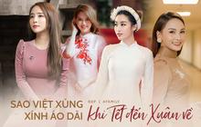 """Cùng với các người đẹp Việt, dàn """"hậu cung"""" VTV cũng khoe sắc trong những tà áo dài duyên dáng đón Xuân về"""