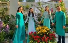 """Lọ Lem - gái lớn nhà MC Quyền Linh chiếm trọn spotlight khi xúng xính áo dài du xuân, """"dìm"""" bố thê thảm bởi chiều cao vượt bậc"""
