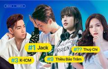 """Jack vẫn """"bá chủ"""" về lượt tương tác, Thiều Bảo Trâm """"hạ gục"""" nhóm nữ đông nhất Việt Nam nhưng Thuỳ Chi mới là """"mối đe doạ"""" trên BXH Top Artist HOT14?"""