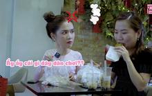"""Thuý Kiều dùng đồ ăn để """"khiêu khích"""" Ngọc Trinh: """"chủ tịch chiều em quá nên em hư đúng không""""?"""