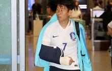 """Xót xa khoảnh khắc """"oppa"""" Son Heung-min nén đau dù bị gãy tay, cố gắng nén lại sân để tri ân khán giả"""