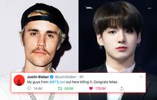 """Justin Bieber gọi BTS là """"my guys"""" và """"thảo mai"""" chúc mừng, liệu có biết chính BTS sẽ vượt mặt mình trong cuộc chiến bán đĩa hay không?"""