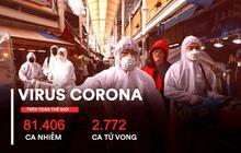 COVID-19 đã lây lan ra 6/7 châu lục trên toàn cầu: 81.406 ca nhiễm; 2.772 ca tử vong tính đến sáng 27/2