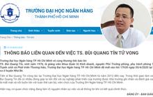 Đại học Ngân Hàng TPHCM thông báo chính thức việc tiến sĩ Bùi Quang Tín tử vong