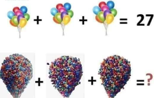 """Lời giải cho bài Toán khiến 100% dân mạng bó tay"""": 3 chùm bóng bay khổng lồ trong phim Up cộng lại là bao nhiêu quả?"""