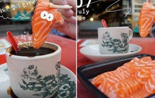 """Bức ảnh ngang trái cá hồi tươi sống chấm cà phê đen """"gây sốt"""" MXH khiến nhiều người rùng mình, dân mạng khuyên can: Đừng dại mà thử!"""