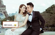 """Ông xã Lê Hà khoe ảnh cưới tại Paris """"bắt trend"""" cực nhanh, nghe nói đúng kiểu ngôn tình chị em đang mê?"""