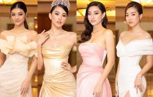 """""""Quân đoàn"""" Hoa hậu Á hậu lộng lẫy đổ bộ thảm đỏ họp báo HHVN 2020, Tiểu Vy đội vương miện 3 tỉ chiếm trọn spotlight"""