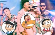 Rap Việt giờ không khác gì phim hoạt hình: Hết team Wowy lại đến học trò Karik thành nhân vật trong Doraemon