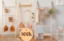 Thang gỗ treo quần áo tiện lợi kiêm luôn đồ decor giá chỉ từ 250k