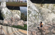 Nữ du khách leo xuống tận dưới bàn tay khổng lồ ở Cầu Vàng - Đà Nẵng khiến cộng đồng mạng chỉ trích ồn ào