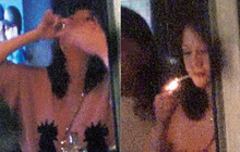 Vừa phủ nhận mang bầu, Trần Kiều Ân đã lộ loạt ảnh nốc rượu, phì phèo hút thuốc trước mặt bạn trai