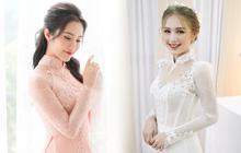 """Primmy Trương - Xoài Non cùng diện áo dài ren cho ngày ăn hỏi nhưng lại so kè cực """"gắt"""" về makeup, tóc tai"""