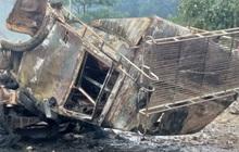 Hiện trường vụ cháy xe chở pháo khiến ít nhất 10 người thương vong