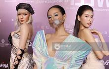 Á hậu Ngọc Thảo mang biểu cảm sắc lạnh nổi tiếng lên thảm đỏ, Khánh Linh gây sốt với mẫu khẩu trang độc lạ tại Aquafina Vietnam International Fashion Week ngày 1