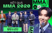 Tổng kết lễ trao giải MMA 2020: BTS đạt All-kill Daesang, BLACKPINK không góp mặt cũng đạt 2 giải thưởng