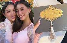 Hé lộ thiệp mời và thời gian tổ chức đám cưới ở TP.HCM của Á hậu Thúy An, Tiểu Vy là ngôi sao đầu tiên xác nhận đến dự