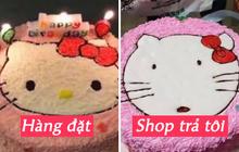 """Đặt bánh gato Hello Kitty được cửa tiệm gật đầu cái rụp, khách hí hửng chờ hàng rồi mém xỉu với gương mặt """"ngáo ngơ"""" hiện ra"""