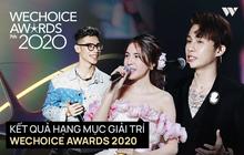 """Kết quả 6 hạng mục giải trí WeChoice Awards 2020: Thuỷ Tiên - MCK được xướng tên, bất ngờ nhất Jack và """"cuộc đua nghẹt thở"""" với Sơn Tùng"""