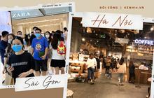 Tối cuối tuần, giới trẻ Sài Gòn - Hà Nội rủ nhau đi lượn: Trung tâm thương mại đông nghẹt, ngoài đường thì cứ như Noel đã về!