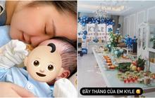 """Đẻ 1 tháng Primmy Trương mới đích thân xác nhận thời điểm mang thai, khoe không gian tiệc thôi nôi xịn xò của """"cậu cả"""""""