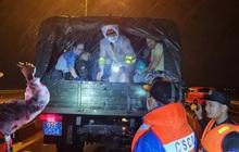 """CSGT Quảng Nam """"giải cứu"""" hàng chục người kẹt giữa dòng nước lũ"""
