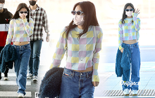 """HOT: Jennie ra sân bay sang Mỹ, mặc áo khoe eo nhỏ tí nhưng chiếc quần thụng như sắp tuột mới chiếm sóng, nhìn đơn giản mà giá cũng """"sương sương"""""""