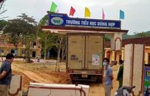 Xe tải va trúng mái cổng trường tiểu học, phát hiện cổng trụ không lõi thép