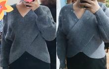 """Thử áo len tại shop ưng bụng quá, cô gái hí hửng về đặt online chiếc y hệt nhưng giá rẻ hơn 30k để rồi khóc thét vì """"ơ hay dáng khác hẳn thế này"""""""