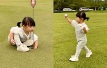 """Tiểu thư """"ngậm thìa vàng"""" Vbiz lần đầu ra sân golf, làm 1 việc được netizen khen tấm tắc!"""