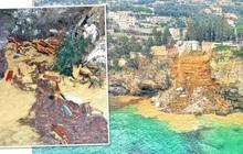 Lở đất ở nghĩa trang trên vách núi khiến 200 quan tài rơi xuống biển