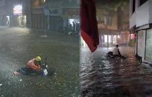 Ảnh, clip: Mưa dông gió giật kèm sấm chớp kinh hoàng ập xuống giờ tan tầm, Hà Nội ngập khắp các tuyến đường