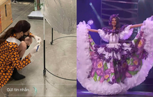 Đêm thi quốc phục Miss Universe: Khánh Vân 1 mình cặm cụi chuẩn bị bộ cánh 30kg, dàn đối thủ mạnh khoe toàn trang phục hoành tráng