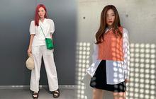 Seulgi là chuyên gia lên đồ với áo trắng, cách mix rất đơn giản nhưng sành điệu hết chỗ chê