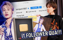 Dù lập kỉ lục đạt nút Vàng YouTube nhanh nhất Việt Nam, nhưng lượng follower trên Instagram của Jack lại khiến netizen phải giật mình!