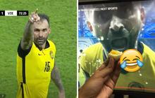 Cầu thủ Malaysia hắt nước, la hét vào máy quay khi ghi bàn và đây là phản ứng cực lầy của netizen Việt: Ăn xong mời về nước nè!
