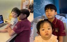 Cường Đô La khoe ảnh 2 con cực tình cảm, hé lộ điều đặc biệt Suchin làm cho Subeo mỗi buổi sáng trước giờ học online