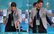 """""""Đu trend"""" Ronaldo, ngôi sao xuất sắc nhất trận Ý - Thụy Sĩ cũng gạt bỏ chai Coca-Cola ra khỏi bàn họp báo"""