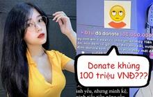 Nữ streamer Thủy Tiên bất ngờ không nói nên lời ngay trên sóng khi được một đại gia donate 100 triệu đồng