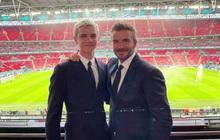 """Bố con David Beckham lên đồ suit bảnh bao và nam tính ngời ngời, ai ngờ visual ông bố U50 """"đè bẹp"""" cả cậu ấm 18 tuổi"""