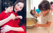 """Ái nữ chỉ mới 3 tuổi nhà Đặng Thu Thảo tự tay làm bánh, nhìn thành quả cực xịn xò khiến mẹ """"mát lòng mát dạ"""""""